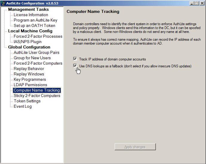 Fig. 2) Computer name tracking dialog
