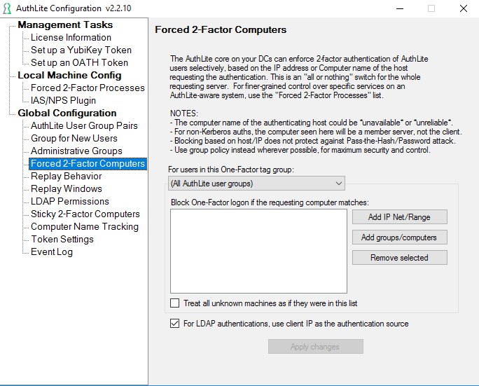 Fig. 1) Forced 2-factor Computers dialog