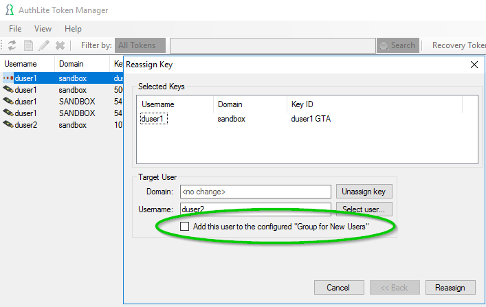 Figure 2: UI checkbox to add the user to this group
